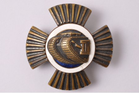 badge, Auto-tank regiment, Latvia, 20-30ies of 20th cent., 44.4 x 44.7 mm, 25.50 g, tiny enamel chips