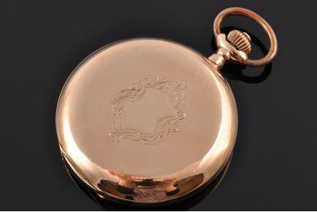 kabatas pulkstenis, ar apzeltītu metāla ķēdīti, Šveice, 19. un 20. gadsimtu robeža, zelts, metāls, zeltījums, 585 prove, (kopējs) 92.85 g, 6.6 x 5.2 cm, 43 mm, darbojas