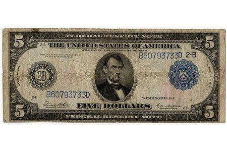5 dolāri, banknote, 1914 g., ASV