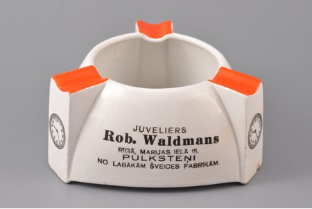 "ashtray, advertising, ""Juvelier Rob Waldman"", faience, J.K. Jessen manufactory, Riga (Latvia), the 30ties of 20th cent., 12 x 12 x 12 x 5.8 cm, small chip on the bottom"