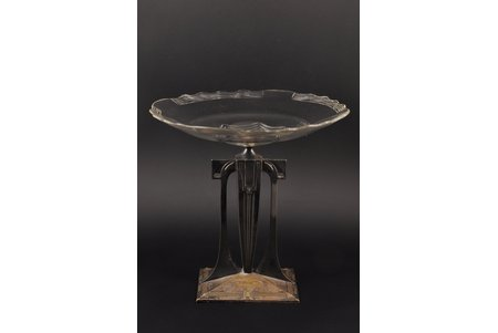 augļu trauks, jūgendstils, apsudrabojums, Vācija, 20. gs. sākums, h 28.8 cm, plaisa stiklā
