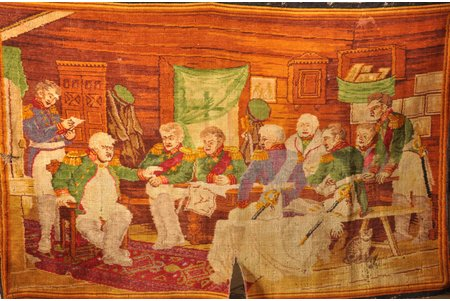 """carpet, """"Council of War in Fili"""", handweaving, wool, Russia, the beginning of the 20th cent., 126 x 195 cm"""