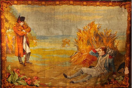 carpet, Franco-Russian War Episode, Partnership of the Spaso-Setunskaya Carpet Manufactory, Moscow, wool, Russia, the beginning of the 20th cent., 132 x 190.5 cm