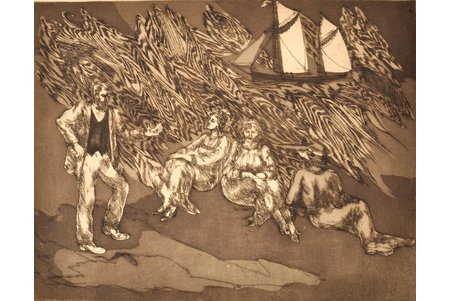 "Lībiete Jana, ""Morning wind"", 1st page of triptych, dedication to Kr. Valdemārs, 1985, paper, etching, 37.6 x 48.7 cm"