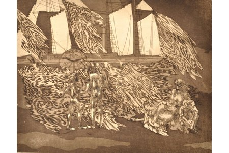 "Lībiete Jana, ""Morning wind"", 3rd page of triptych, dedication to Kr. Valdemārs, 1985, paper, etching, 38.3 x 48.5 cm"