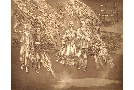 "Lībiete Jana, ""Morning wind"", 2nd page of triptych, dedication to Kr. Valdemārs, 1985, paper, etching, 38.7 x 48.6 cm"