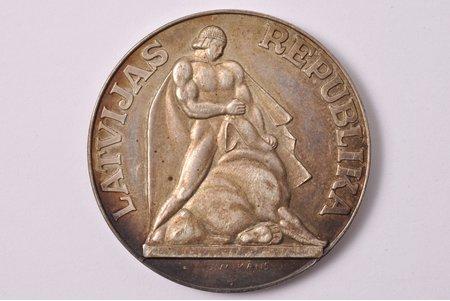 5 lati, 1991 g., sudrabs, Latvija, 26.66 g, Ø 38.1 mm, UNC, izmēģinājuma monēta, inventāra numurs uz apmales