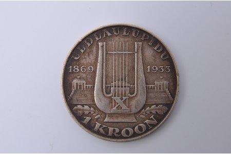 1 kroon, 1933, Lira, Estonia, 5.85 g, Ø 25.3 mm, XF