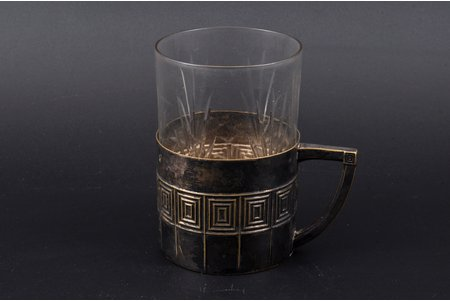 tea glass-holder, Plewkiewicz w Warszawie, with glass, silver plated, Russia, Congress Poland, the border of the 19th and the 20th centuries, h 5.7 cm, Ø (inside) 6.5 cm