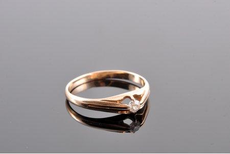 кольцо, золото, 585 проба, 1.75 г., размер кольца 19.7, бриллиант, 20-30е годы 20го века, Латвия