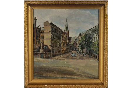 unknown author, the Corner Old St. Gertrude's Church and Stabu Str., canvas, oil, 39 x 36.3 cm