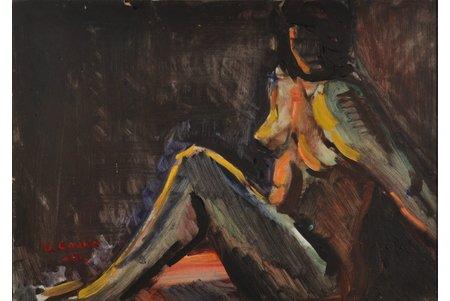 В. Цаука, Акт, 1961 г., картон, масло, 33.5 x 47.3 см