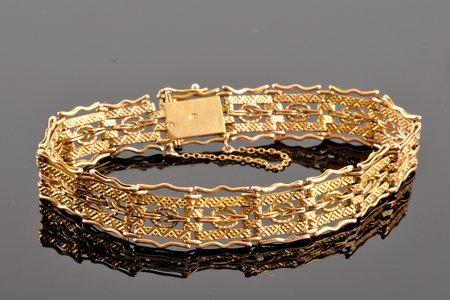 браслет, золото, 585 проба, 15.50 г., размер изделия 17 см, начало 20-го века