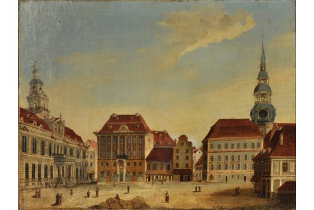 unknown author, Rīga City Hall Square, the 1st half of the 19th cent., canvas, oil, 59.5 x 78.5 cm, the experts conclusion enclosed