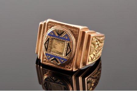 кольцо, в футляре, золото, эмаль, 585 проба, 20.95 г., размер кольца 20.25, 20-е годы 20го века, Латвия