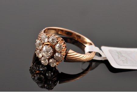 кольцо, золото, 585 проба, 3.34 г., размер кольца 17.5, бриллианты (старая огранка), (1) 0.23 кт; 8 x 0.1 кт, сертификат качества Латвийского пробирного бюро