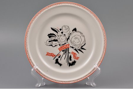 "decorative plate, ""Flowers"", porcelain, sculpture's work, Rīga porcelain factory, handpainted by N. Trimailova, sketch by Sigismunds Vidbergs, Riga (Latvia), 1940, Ø 20.3 cm"