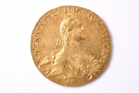10 rubles, 1765, SPB, Catherine II, gold, Russia, 13 g, Ø 30.3 mm, AU