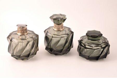 perfume set, silver, glass, 3 items, 800 standart, Europe, h 14.3 / 12.5 / 9.2 cm