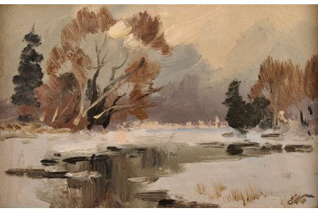 Vinters Edgars (1919-2014), Winter, carton, oil, 14.5 x 22.5 cm