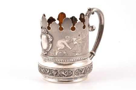 tea glass-holder, silver, 84 standart, 1887, 170.30 g, by Richard Muller, Riga, Russia, h 10 cm
