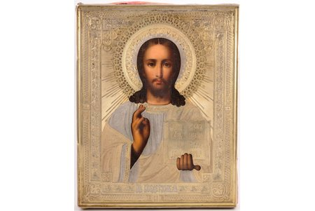 icon, Jesus Christ Pantocrator, board, silver, painting, 84 standart, Russia, 1890, 22 x 17.5 x 2.3 cm