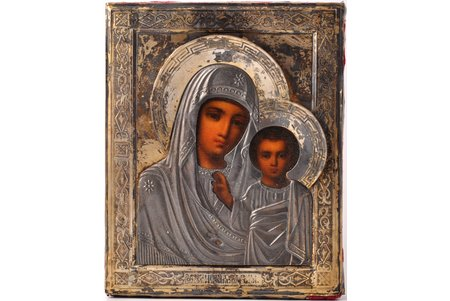 icon, Mother of God, board, silver, painting, 84 standart, Russia, 1880-1890, 17.8 x 14.5 x 2.3 cm