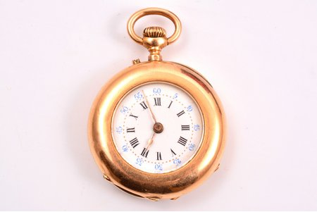 pocket watch, France, gold, 18 K standart, 21.27 g, 3.8 x 3 cm, 27 mm, working well