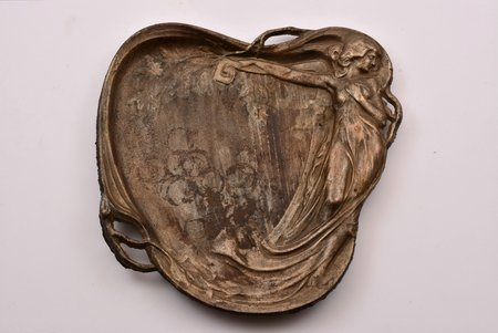 "business card holder, ""Nymph"", Art Nouveau, cast iron, 22 x 22.1 cm, weight 1050 g., Russia, Kusa"