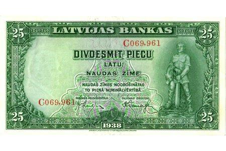 25 lati, banknote, 1938 g., Latvija, XF