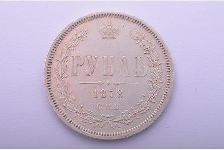 1 ruble, 1878, NF, SPB, silver, Russia, 20.6 g, Ø 35.6 mm, XF, VF