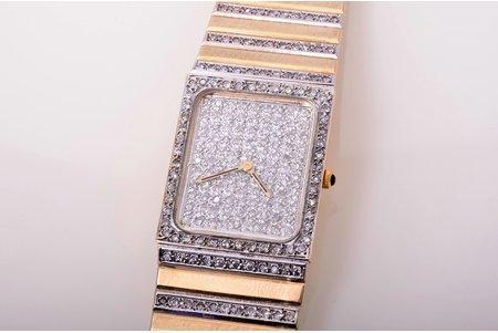 wristwatch, Itālija, gold, diamonds, 585, 14 K standart, 77.47 g, 19.3 cm, 24 x 20 mm