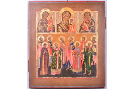 two-rows icon, Our Lady of Tikhvin, Our Lady of Kazan, Our Lady of Vladimir, chosen saints, board, painting, Russia, the 19th cent., 44.5 x 39.2 cm