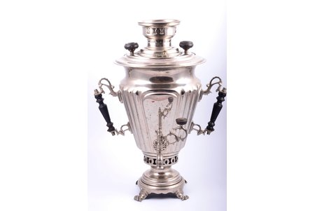"""samovar, E.V. Salishyev, Tula, brass, nickel plating, Russia, the beginning of the 20th cent., h 43.9 cm, weight 4100 g, shape """"faceted wineglass"""""""