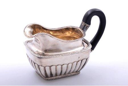 cream jug, silver, 84 standart, 1829, 132.60 g, by Matvey Grechushnikov, Moscow, Russia, h (with handle) 9 cm