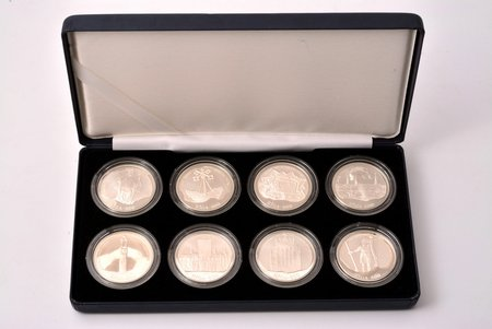 set of 8 coins, 10 lats, Riga 800, 1995-1998, silver, Latvia, 31.47 g, Ø 38.61 mm, Proof, with a certificate, 925 standard, in a box
