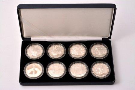 8 monētu komplekts, 10 latu, Rīga 800, 1995-1998 g., sudrabs, Latvija, 31.47 g, Ø 38.61 mm, Proof, ar sertifikātu, 925. prove, kastītē