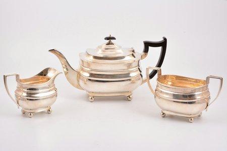 service: sugar-bowl, cream jug, teapot, silver, 925 standart, teapot 719.55 g, sugar-bowl 257.80 g, cream jug 181.85g, James Dixon & Sons, Great Britain, h 15.8 / 10.1 / 10 cm