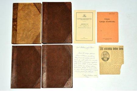 """Latvijas kreditbanka, """"Darbības pārskats par 1935-1938. gadiem"""", 4. grāmatas, 1938. gada pārskats ar pielikumiem : """"Likums par Latvijas kreditbanku""""(18 lpp.), vēstuli rektoram, prof. J. Zaķim, pārskata brošūra vācu valodā (1939), avīzes raksts par bankas direktoru Andreju Bērziņu (1940), 1936-1938, Armijas spiestuve, Latvijas kreditbankas izdevums, Riga, 409+544+394+526 pages, half leather binding, stamps, notes in book, appendixes on separate pages, 24.8 x 16.2 cm"""