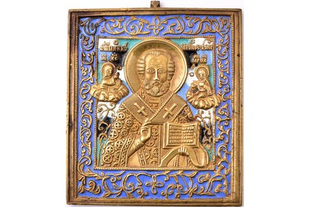icon, Saint Nicholas the Wonderworker, copper alloy, 5-color enamel, Russia, the beginning of the 20th cent., 11.2 x 9.6 x 0.5 cm, 294.95 g.