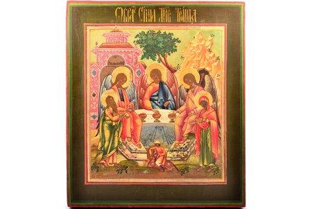 ikona, Ābrahama viesmīlība - Vecās Derības Svētā Trīsvienība, dēlis, gleznojums, zeltījums, Krievijas impērija, 34.5 x 30.1 x 2.6 cm