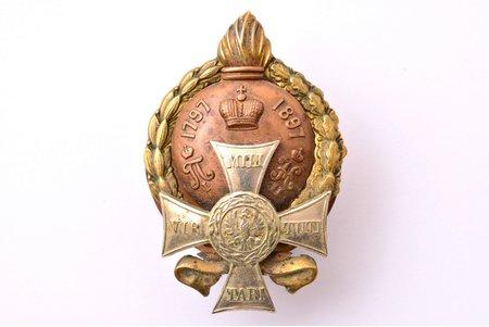 badge, 7th Samogitian Grenadiers' Regiment, bronze, copper, Russia, beginning of 20th cent., 51 x 34.2 mm