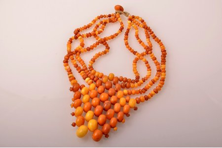 a necklace, amber, 114.69 g., bead Ø 5-20 mm, necklace length 40 cm, with certificate of the Assay Office of Latvia