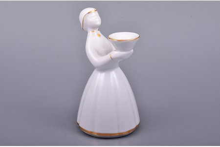 "figurine, candlestick ""Ilga"", porcelain, Riga (Latvia), USSR, sculpture's work, Riga porcelain factory, molder - Ilga Vanaga, the 60ies of 20th cent., 12.5 cm"
