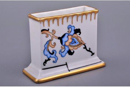 serviette holder, porcelain, sculpture's work, M.S. Kuznetsov manufactory, handpainted by Olga Kateneva-Neimane, Riga (Latvia), 1937-1940, 7 cm, first grade