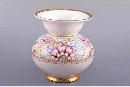 vase, flowers, porcelain, Riga Ceramics Factory, signed painter's work, handpainted by Irina Sochevanova, sketch by Olga Kateneva-Neimane, Riga (Latvia), USSR, 1946, 14 cm, Nr. 2/12