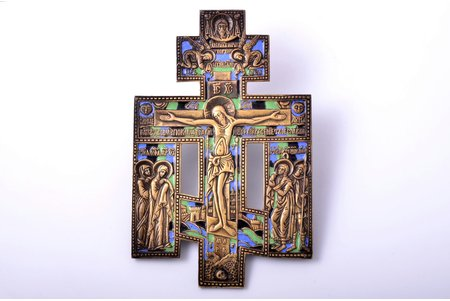cross, The Crucifixion of Christ, copper alloy, 3-color enamel, Russia, Moscow 1840-ties, 22.6 x 14.7 x 0.6 cm, 624.20 g.