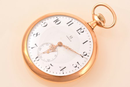 "pocket watch, ""Omega"", Switzerland, the beginning of the 20th cent., gold, 56, 14 K standart, 72.20 g, 6.1 x 5 cm, 42 mm, working well"