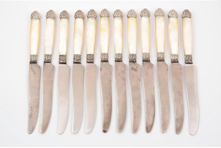 flatware set, silver, 12 knives, metal, nacre, total weight of items 843.45g, Europe, two hangles with cracks