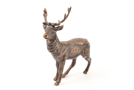 figurine, Deer, bronze, 11.1 x 9.5 x 4 cm, weight 327.75 g., the border of the 19th and the 20th centuries